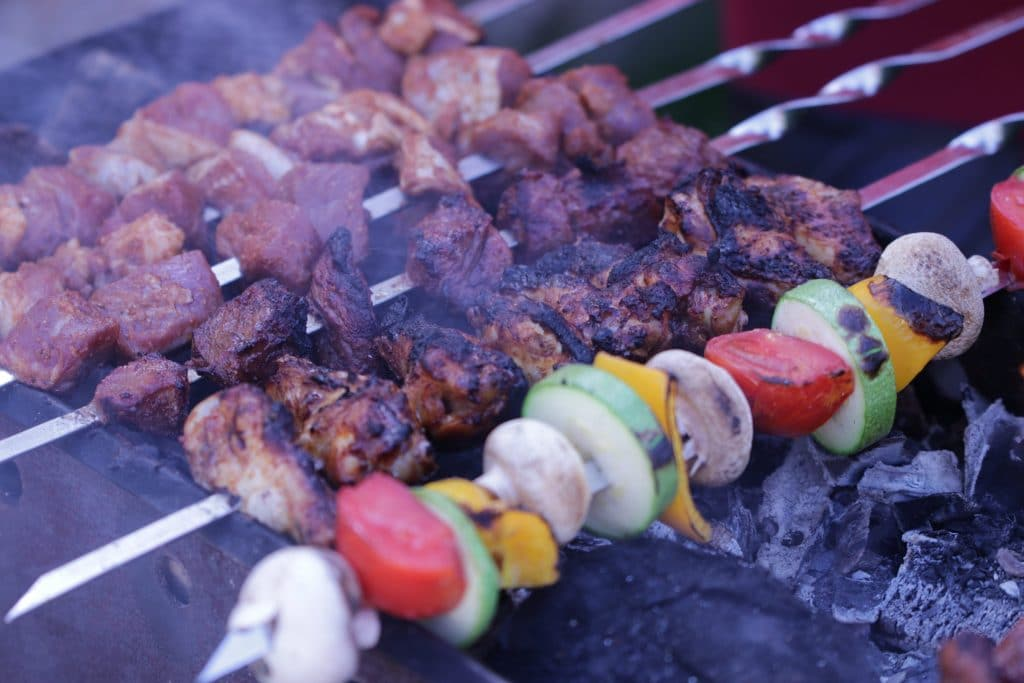 Shaslik or barbeque with different meats