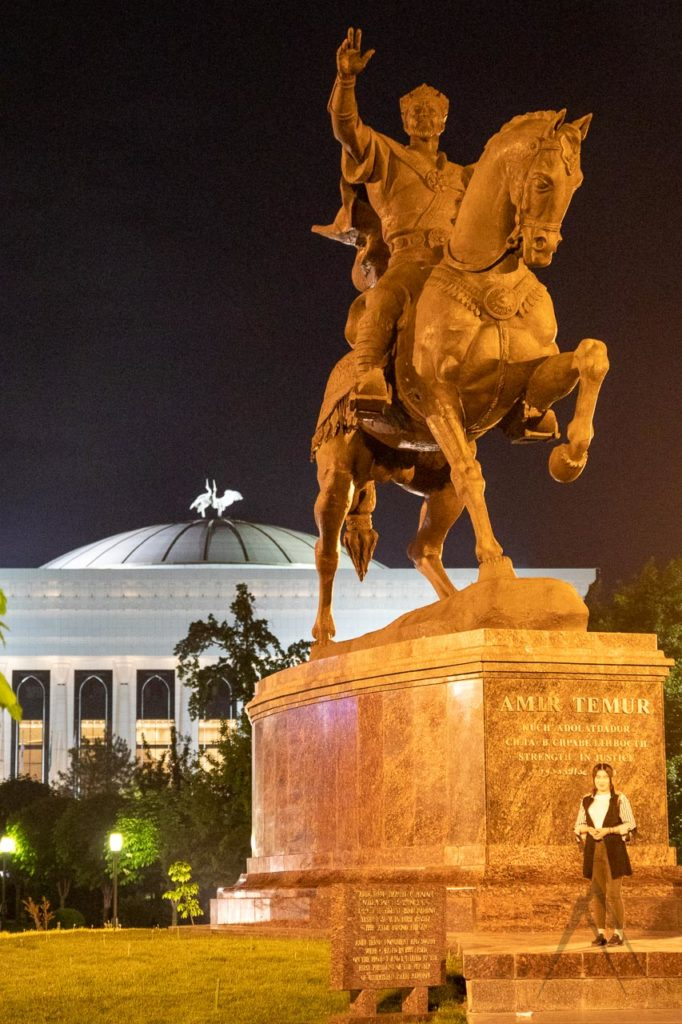 Statue of Amir Timur in Tashkent in the night lighting