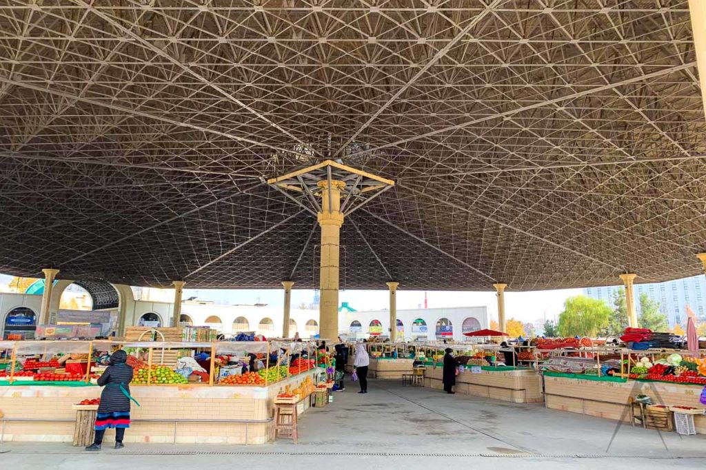 MIrobod grocery bazaar in Tashkent under a tree canopy like ceiling