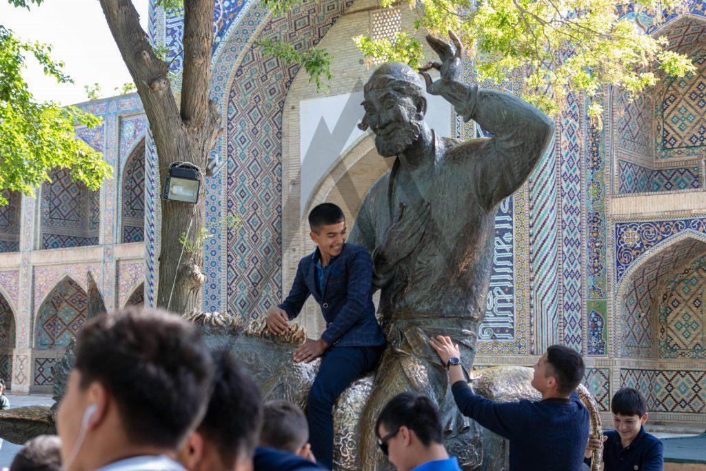 Khoja Nasreddin statue in Bukhara