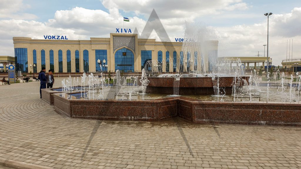 Khiva train station with a fountain