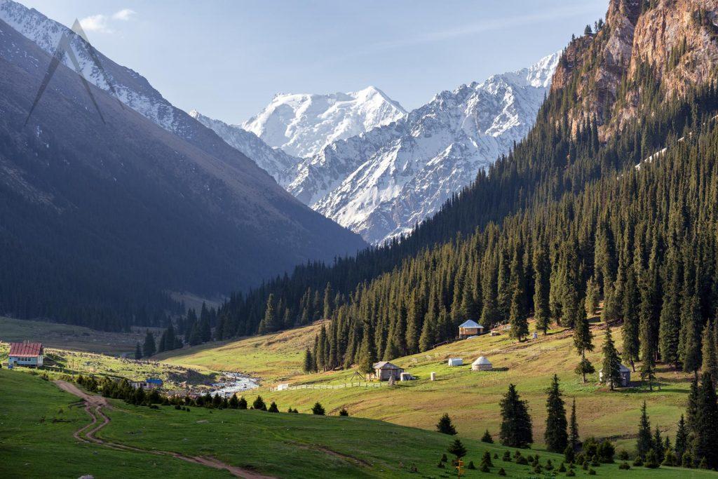 Amazing view of Altyn Arashan valley in Kyrgyzstan
