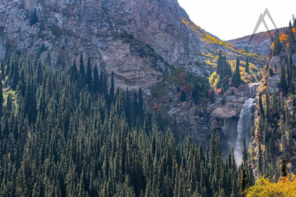 Barskoon valley largest waterfall in autumn colors in Issyk Kul, Kyrgyzstan