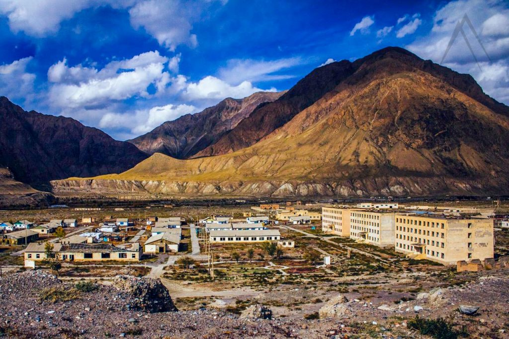 Ghost town of Enilchek in Kyrgyztan in the Tien Shan mountains