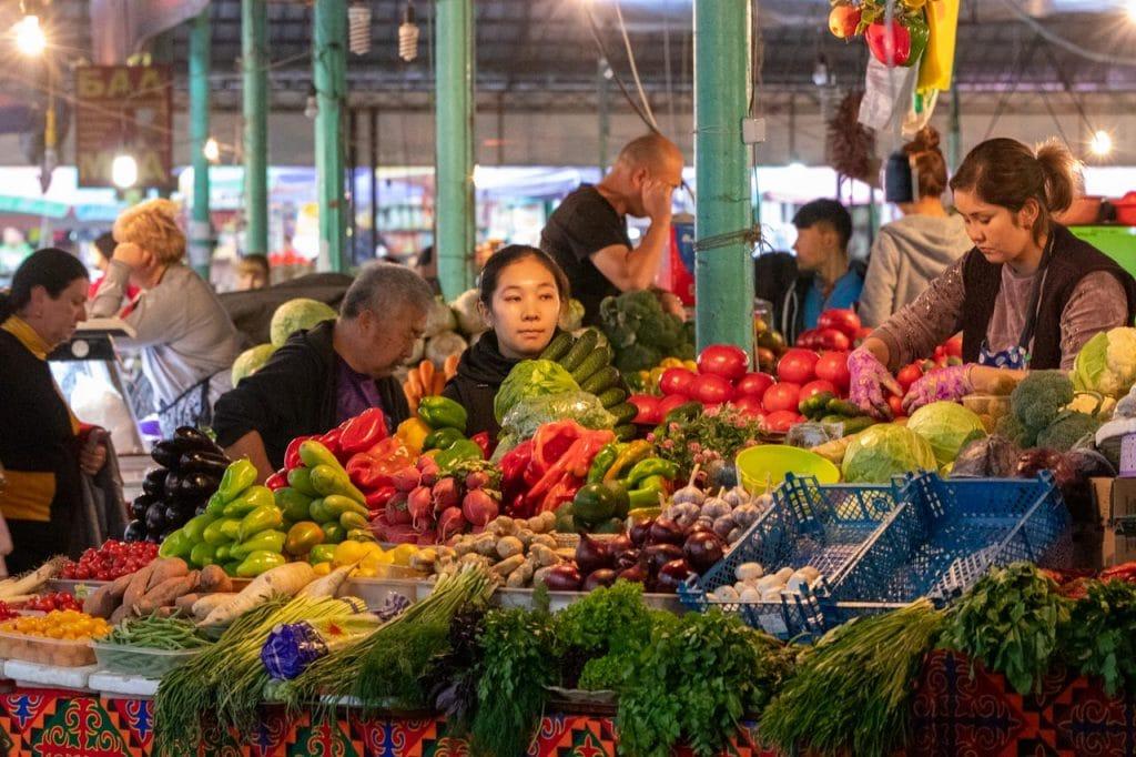 Bazar selling frest vegetables in Kyrgyzstan