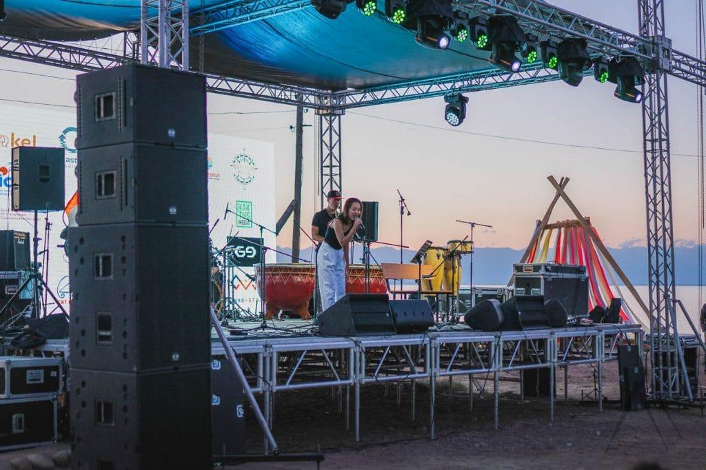 Artist performing music in Kolfest festival, Kyrgyzstan