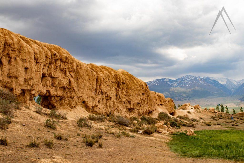 Koshoy Korgon walled silk road city ruins in Kyrgyzstan