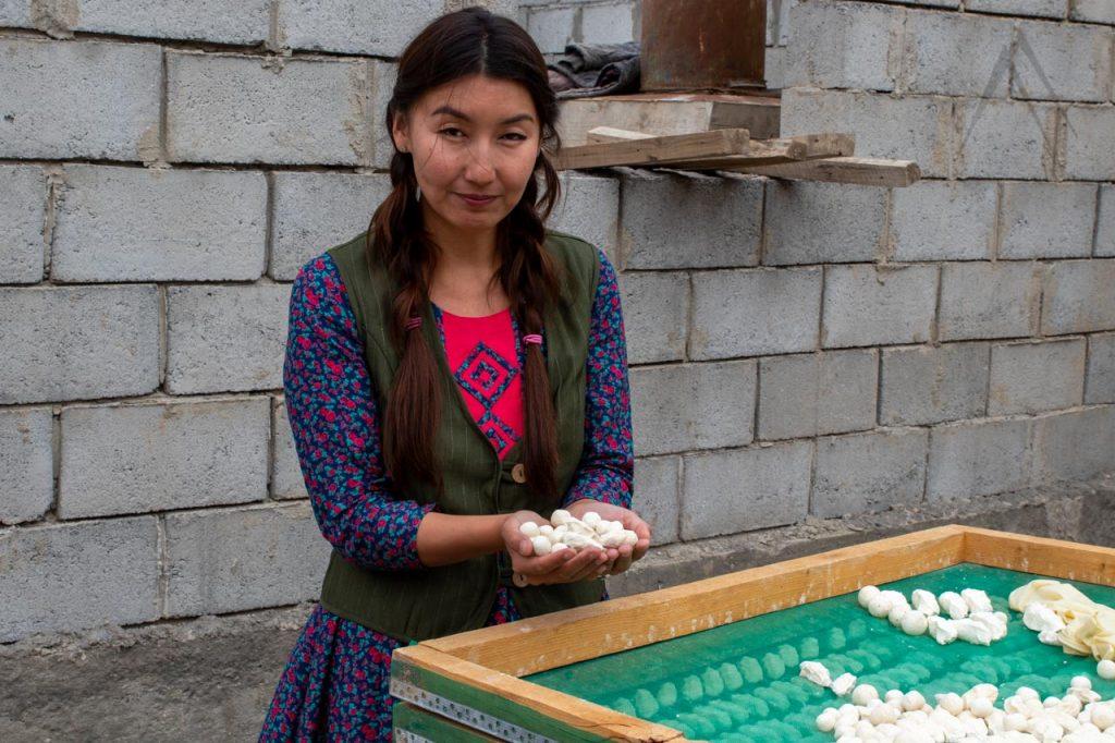 Preparing kurut in Kyrgyzstan
