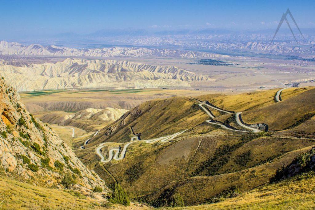 Serpentine road to Kazarman Kyrgyzstan
