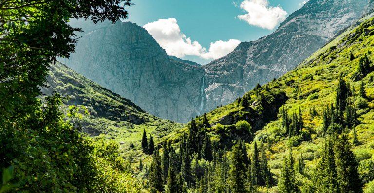 Bash Kaindy or Shar waterfall in the Naryn region inside the Bash Kaindy gorge