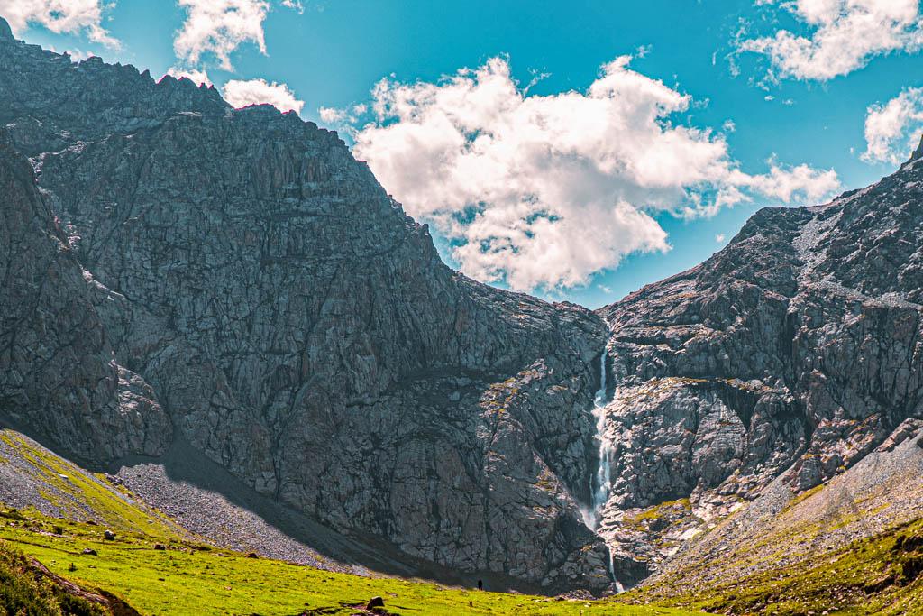 Shar waterfall in the Bash Kaindy gorge in Naryn region in Kyrgyzstan