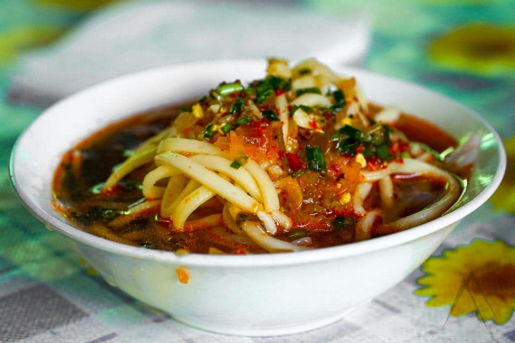 Ashlan Fu is a Dungan cold noodle dish served mostly in the Eastern Issyk Kul area in Karakol