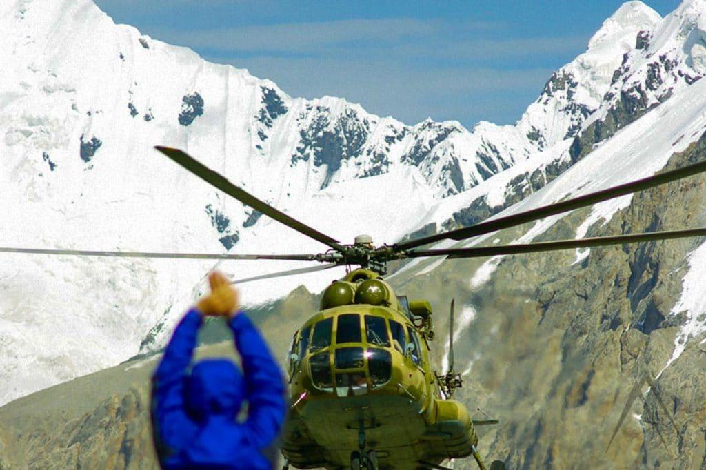 Helicopter to Khan Tengri peak, Kyrgyzstan