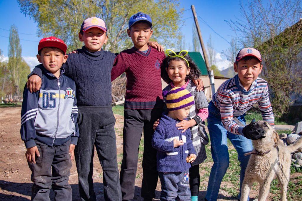 Children in a Kyrgyz village