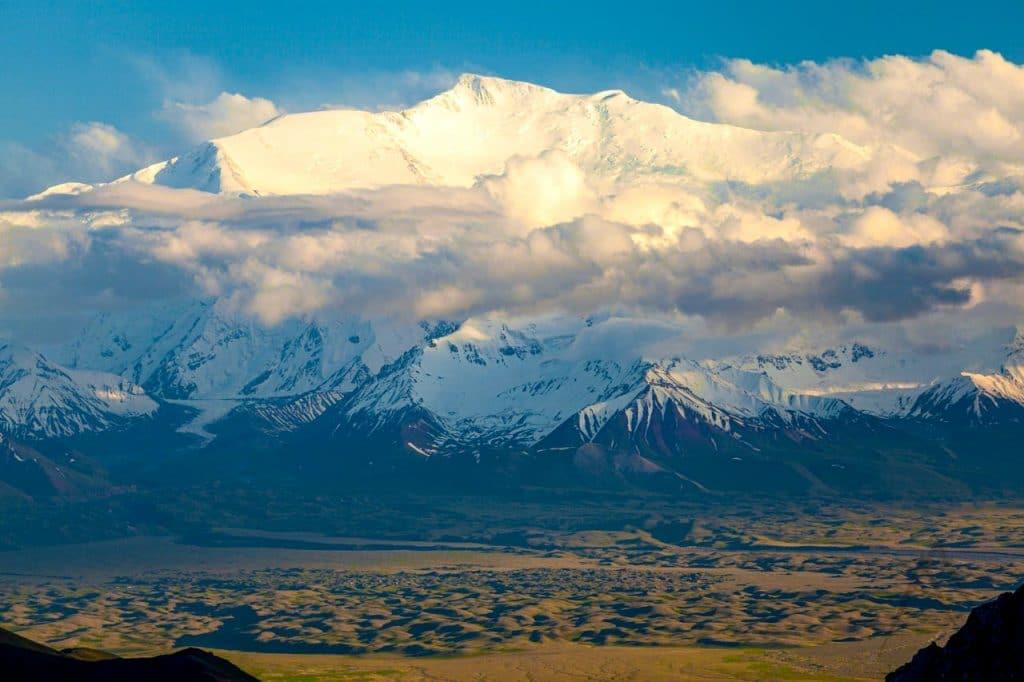 View of Lenin peak in Alay valley, Kyrgyzstan