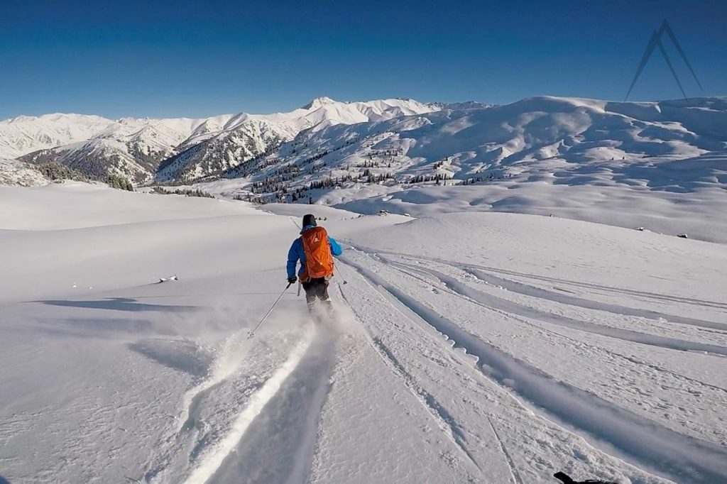 Backcountry powder skiing in Kyrgyzstan