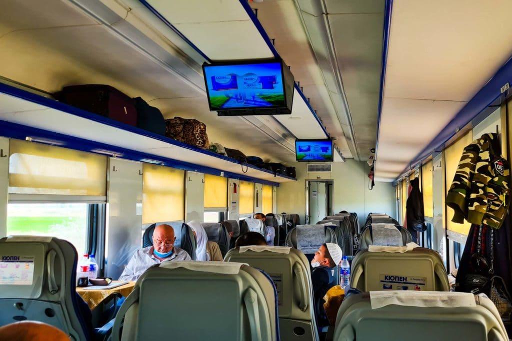 inside of Uzbek train